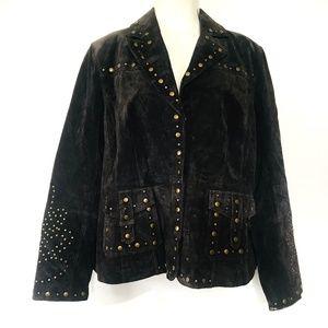 Bernardo Genuine Leather Studded Brown Moto Jacket